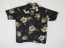 Hawaiian Mens Shirt Maui Trading Co Size XL Black Yellow Flowers Short Sleeve