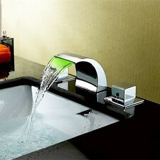 Chrome LED Color Bathroom Deck Mount Waterfall Brass Faucet Basin Sink Mixer Tap