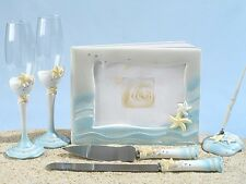 Starfish Summer Beach Wedding Set Accessories Reception Guest Book Flutes Server