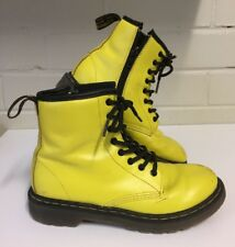 Dr Martens Delaney Zip Boots 8 Eye Lace Up Yellow Air Wair Size 2 VGC Kids DM080