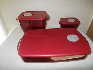 3 ~TUPPERWARE ROCK N SERVE RECTANGLE MICROWAVE COOKWARE W/VENTED LID RED