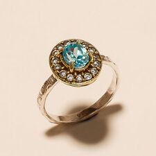 2.60 Gm Blue Topaz Ring 925 Solid Sterling Silver Two Tone Ring Us 6.8 U-88