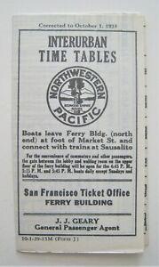 Vintage 1939 Northwestern Pacific Railway Trolley Timetable San Francisco CA