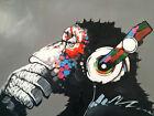 "Modern Abstract Art Monkey Chill DJ Headphones *FRAMED* CANVAS PRINT 16""X12"""