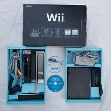 Nintendo Wii Console Black Wii Sports/Resort Bundle w/ Controllers Tested in Box