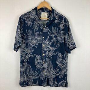 Tasso Elba Mens Silk Button Up Shirt Medium Blue Floral Short Sleeve Collared