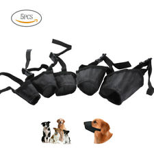 5x Soft and Comfortable Pet Adjustable Dog Muzzle Fabric Nylon No Bark Bite Chew