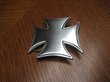 "PEWTER IRON CROSS WITH SKULLS BELT BUCKLE 3"" #4638 NEW"