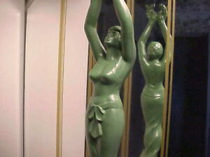 """Rare 16"""" Tall Art Deco Semi Nude Lady """"Goddess of Victory"""" Trophy Statue - 1940s"""