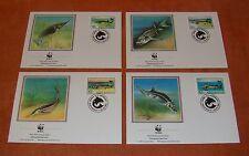Romania 1994 mi.5034-37 FDC naturalistiche interrompervi. WWF, animali, pesci, Sterlet, waxdick