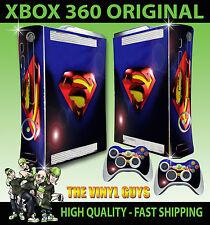 XBOX 360 SUPERMAN LENS FLARE DC HERO CONSOLE STICKER SKIN NEW & 2 PAD SKINS