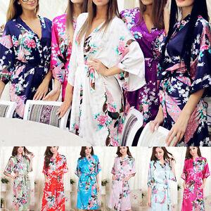 Hot High Quality Long women lady Girls Bride Kimono Robe satin Night dress Gown-