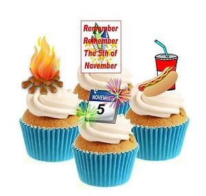 Bonfire Night Collection 12 Edible Stand Up wafer paper cake toppers fireworks