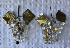 Lot Of 2 Vintage Crystal & Brass Grapes Bunch Figurines