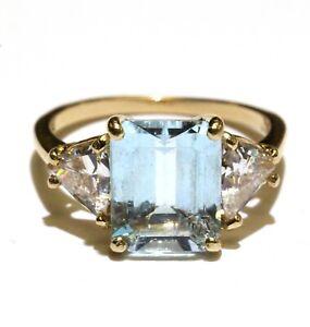14k yellow gold blue topaz cubic zirconia cz gemstone ring 3.6g womens size 6