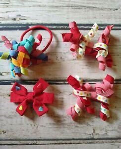 VTG Gymboree Sugar and Spice red hearts hair bow polka dot curlies & ponytail