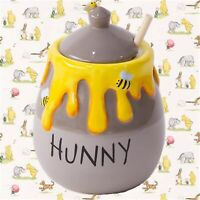 """NEW 5"""" DISNEY Authentic WINNIE THE POOH HUNNY Cookie Jar Honey Pot Bees & Dipper"""
