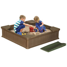 NEW! 4ft x 4ft All Weather Outdoor Sandbox Kit w/Cover - Sand Play Box w/Liner
