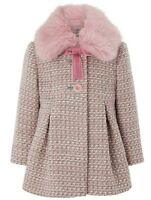Monsoon Girls Children's Phoebe Tweed Winter Faux Fur Coat Jacket 1 To 13 YRS