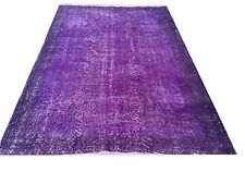 "CLEARENCE 6'10"" x 4'  Vintage PURPLE OUSHAK Overdyed carpet rug"
