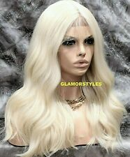 Human Hair Blend Hand Tied Free Part Lace Front Full Wig Platinum Blonde #613A