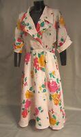 GUCCI Robe en lin, imprimé floral, années 80. Taille 46 sans défauts