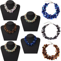 Fashion Women Crystal Sequins Pendant Bib Choker Chunky Chain Statement Necklace