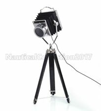 NAUTICAL ROOM DECORATIVE CAMERA STYLE SPOT SEARCH LIGHT WITH WOODEN TRIPOD STAND