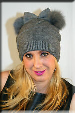 New Gray Knit Beanie with Bow Tie and Double Gray Fox Fur Pom Poms Efurs4less