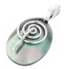 """1 5/8"""" BLUE MOTHER OF PEARL SHELL 925 STERLING SILVER pendant"""