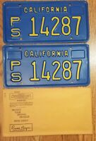 "1969 CALIFORNIA CA LICENSE PLATE SET TAG ""PS 14287"", NOS, Vintage, See ALL Pics."