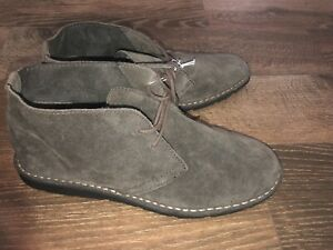 New Merona Gray Taupe Suede Leather Chukka Ankle Boots Shoes 12 Chelsea ish Look