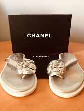 Authentic Chanel flip flops size 39 color silver and white