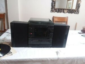 Vintage GPX Home Music System Dual Cassette Turntable Radio Speakers S4156  Used