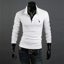 White M Fashion Men's Slim Fit Casual Short Sleeve POLO Shirts T-shirt Tee Tops