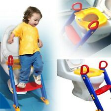 Children's Toilet Trainer Seat & Ladder Toddler Step Up Kids Easy Fold Down UK
