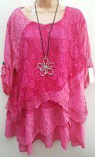 New Italian Lagenlook Pink Lace Sequin Mesh Top Tunic 16 18 20 22 24