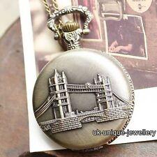 Rare London Tower Bridge Pocket Watch Vintage Xmas Gift For Him Dad Mens Husband