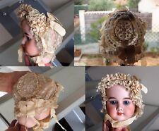 MAGNIFIQUE ancien chapeau coiffe 1900 pour poupée JUMEAU Bru ou autre etc