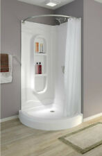 Corner Shower Stalls Kits Walk In One Piece Curtain Rod Bathroom White Curved