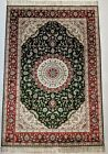 4x6 ft Traditional Silk Rug Emerald Green Scarlet Red 225 KPSI New Carpet Sale