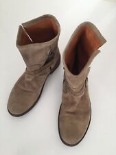 FIORENTINI + BAKER SUEDE ZIP UP ANKLE BOOTS BUCKLED STRAP STUDS TAUPE UK5.5 / 6