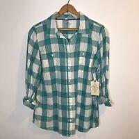 NWT St. John's Bay Latigo Green White Plaid Cotton Women's Button Down Shirt PM