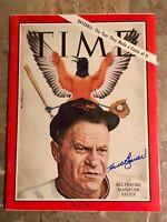 1964 Orioles HANK BAUER Signed TIME Magazine NO LABEL