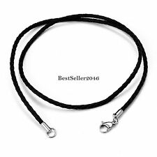 "2mm Twisted Braided Rope Black Leather Cord Chain Necklace Silver Clasp 22"" Inch"