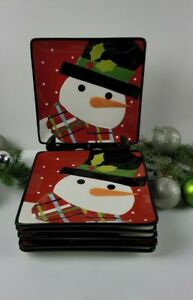 Sue Zulauf Christmas Cut-Outs Snowman Square Salad Plate - Set of 6