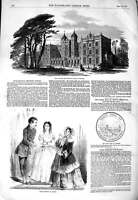 Old Antique Print 1850 Kneller Hall Training School Whitton Paris Fashion 19th