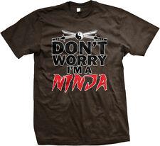 Dont Worry Im A Ninja Ying Yang Crossed Katanas Nerd Geek Humor Mens T-shirt