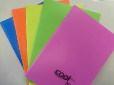 A4 NOTEBOOK, BRIGHTLY COLOURED, FEINT RULED AND MARGIN