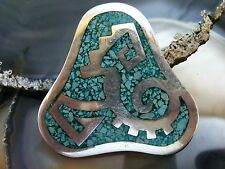 Turquoise Chip Inlay Brooch Pendant Vtg Taxco Mexico Sterling Silver Abstract